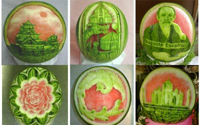 watermelon art, japanese watermelon sculpture, watermelon carving, Takashi Itoh